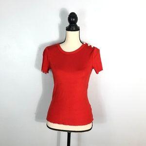 Rag & Bone New York Red Ribbed Shirt   Size: S